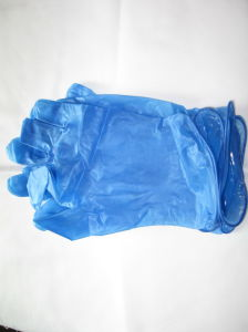 Medical Grade Blue Color Disposable Vinyl Gloves pictures & photos