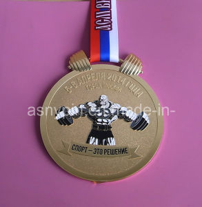 Flag Ribbon Weightlifting Gold Medallion pictures & photos