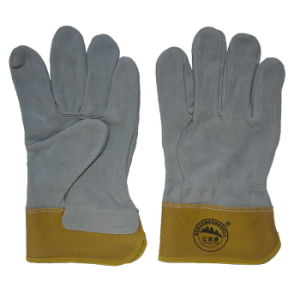 Full Palm Cow Split Leather Industrial Work Gloves pictures & photos