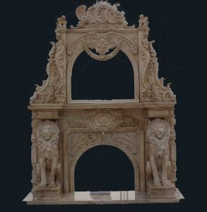 Marble Lion Sculpture Mirror Fireplace Mantel pictures & photos