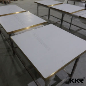 White Black Round Restaurant Artificial Stone High Bar Table pictures & photos