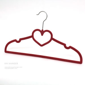 Factory Wholesale Plastic Velvet Flocked Hanger, Plastic Hanger for Cheap T-Shirt pictures & photos