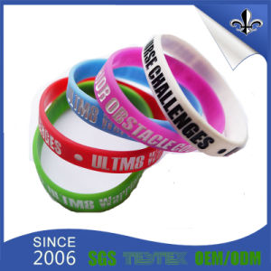 Factory Product Debossed Silicone Wristband for Wedding pictures & photos
