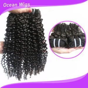 Fast Delivery Double Drawn Weft Full Cuticle Layered Kinky Curl Remy Russian Human Hair pictures & photos