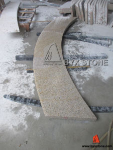 Bush Hammered Yellow Granite Radius Step / Tread for Plaza Project pictures & photos