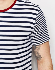 100% Cotton Mens Black and White Stripe Shirt pictures & photos
