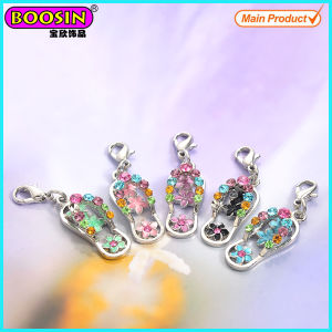 Factory Sale Metal Rhinestones Flip Flop Charms pictures & photos