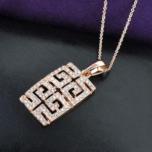 Fashionable Greek Key Design Retangle Pendant Crystal Gold Necklace pictures & photos