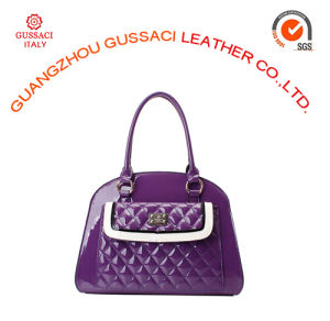 Luxury Violet Patent Leather Lattice Design Women Tote Bag