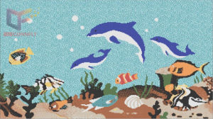 Fish and Flower Art Mosaic Pattern Glass Swimming Pool Mosaic Tile pictures & photos
