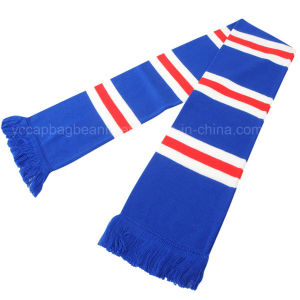 Promotional Knitted Acrylic Blue White Football Scarf pictures & photos