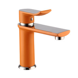 Contemporary Brass Basin Mixer with Orange Paniting Finish pictures & photos