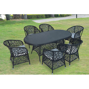 PE Rattan Hollow out Table and Chair Set pictures & photos
