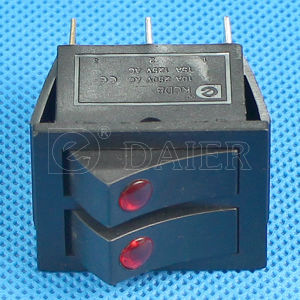 12V DOT Illuminated 6 Pins Rocker Switch with 2 LEDs pictures & photos