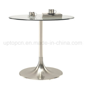 Leisure Stainless Steel Trumpet Base Round Glass Top Table (SP-GT100) pictures & photos