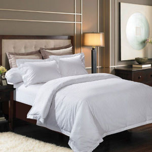 Egyptian Cotton Elegant Satin Stripe White Hotel Bed Linen Bedding Set pictures & photos