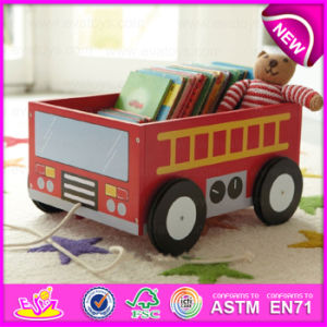 Pull and Push Wooden Bus Storage Cartoon Box for Kids, Best Manufacturer Wooden Toy Storage Box with School Bus Printing W08c127 pictures & photos