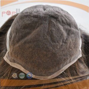 Full Hand Tied PU Back Front Lace Human Hair Nutural Brown Color Hair Piece Toupee pictures & photos