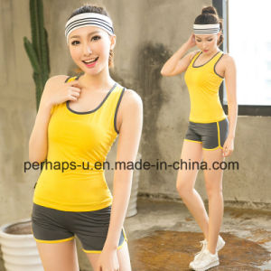 Ladies Fitness Clothes with Vest and Shorts Yoga Suits pictures & photos
