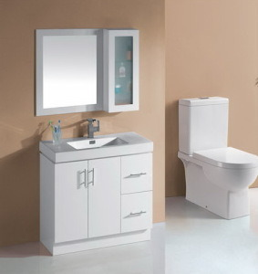 White Glossy MDF Bathroom Vanity Cabinet with Basin (P6011-900W) pictures & photos