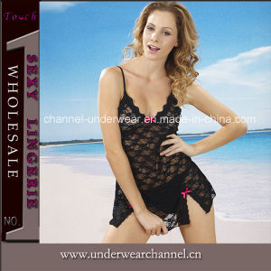 Hot Girl Black Sexy Lace Babydoll Nightwear Lingerie (TSW6166) pictures & photos