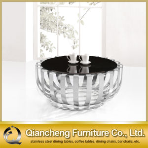 Round Black Tempered Glass Coffee Table Set pictures & photos