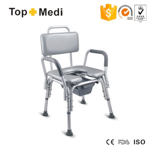 Topmedi Adjustable Height Aluminum Commode Chair with Toilet pictures & photos