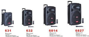 "8′′ 10""12""15""""Portable Outdoor Trolley Wireless Bluetooth Rechargeable Battery Guitar PA Speaker with USB MP3 6814 Series pictures & photos"