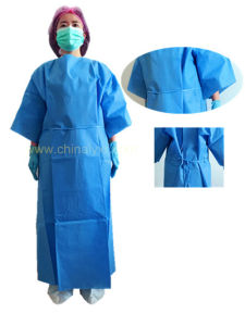 Hospital Disposable Surgical Patient Gown with Short Sleeve pictures & photos