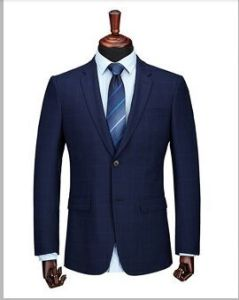 2016 Men′s Navy Blue Woolen Checked Suit Fashion pictures & photos