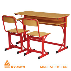 Durable Double Table and Chair for High School pictures & photos
