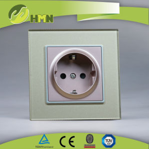 TUV Certified EU Standard Thoughened Glass Schuko Socket Wall Switch pictures & photos