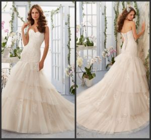 Sweetheart A-Line Bridal Dresses Pink Lace Tiered Tulle Wedding Gown Bl5405 pictures & photos