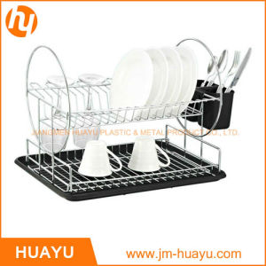 2-Tier Chrome Steel Dish Rack with Drainboard and Cutlery Cup (Black) pictures & photos