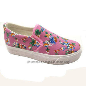 Women′s Printed Floral Canvas Shoes (ET-LD160103W) pictures & photos