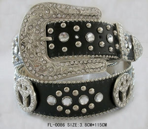 Studded Belt with Peace and Rhinestone Fl-0085 pictures & photos
