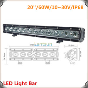 Auto Oval LED Work Light Bar 60W 20inch for Heavy Duty Machine pictures & photos