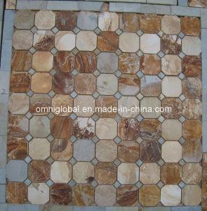Multicolour Slate Stone Mosaic Tile/ Culture Stone Mosaic (Hexagon Pattern)