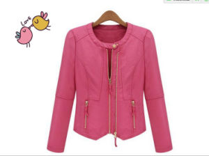 Ladies Fashion Leather PU Jacket Garments pictures & photos