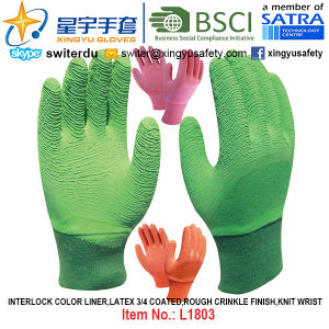 Interlock Color Liner, Latex 3/4 Coated Gloves (L1803) , Rough Crinkle Finish, Knit Wrist with CE, En388, En420, Work Gloves pictures & photos