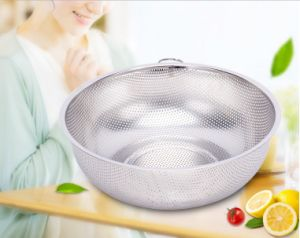 Stainless Steel Deep Wash Rice Sieve Fruit Sieve (CS-021) pictures & photos