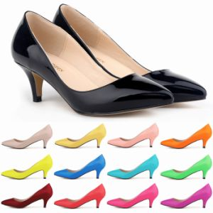 Low MID Heels Women Shoes PU Patent Leather