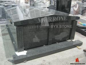 G654 Two Crypt Dark Grey Granite Mausoleum pictures & photos