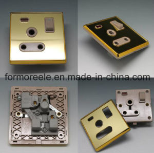 FM1002 Jordan 16A 250V Golden Acrylic Neon Light Wall Socket Switch pictures & photos