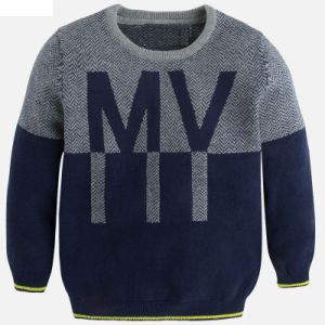 "Boys Grey Marl Effect Intarsia Word ""My"" Jumper pictures & photos"
