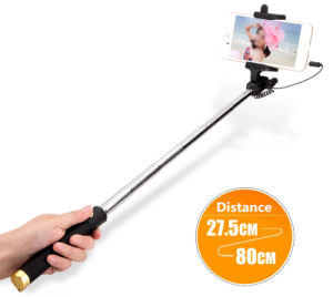 Luxury Wired Mini Selfie Stick Monopod for iPhone Samsung Android pictures & photos