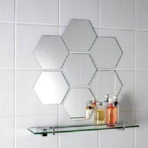 Hot! Qingdao Fashional 4mm Hexagonal Shaped Bathroom Silver Mirror Tiles for Bathroom Decor Usage R=200mm pictures & photos
