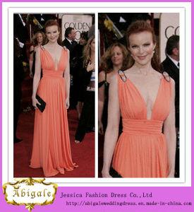 2013 Custom Made V-Neck Chiffon Floor Length Ruffles Celebrity Dress (SR76) pictures & photos