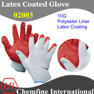 10g White Polyester/Cotton Knitted Glove with Red Latex Wrinkle Coating pictures & photos