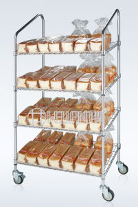 Slanted Metal Supermarket Bread Display Storage Shelving Trolley with NSF Approval pictures & photos